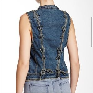 Free People | Rugged Ripped Jean Lace Up Vest Sm